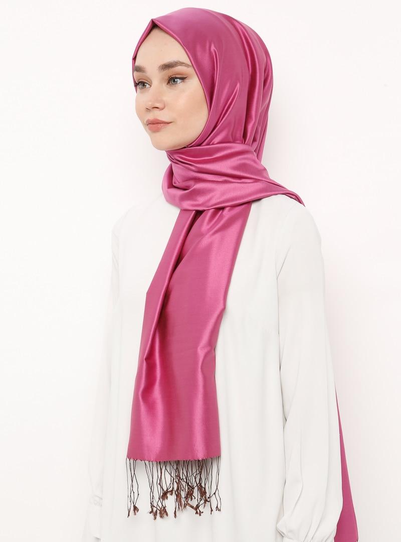 Tesettür %100 İpek Şal Silk Home Kahverengi Fuşya Kadın Standart