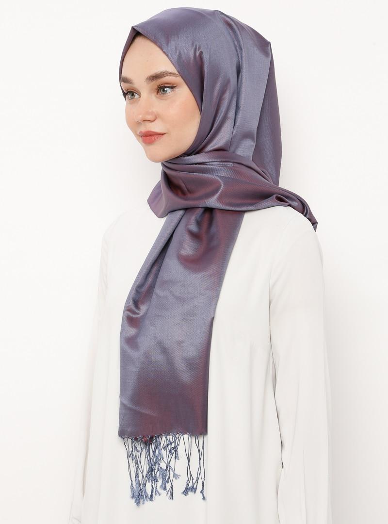 Tesettür %100 İpek Şal Silk Home Lacivert Bordo Kadın Standart