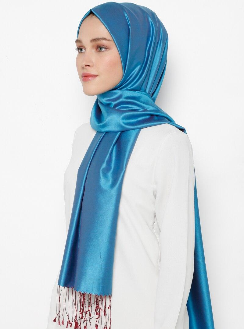 Tesettür %100 İpek Şal Silk Home Mavi Bordo Kadın Standart