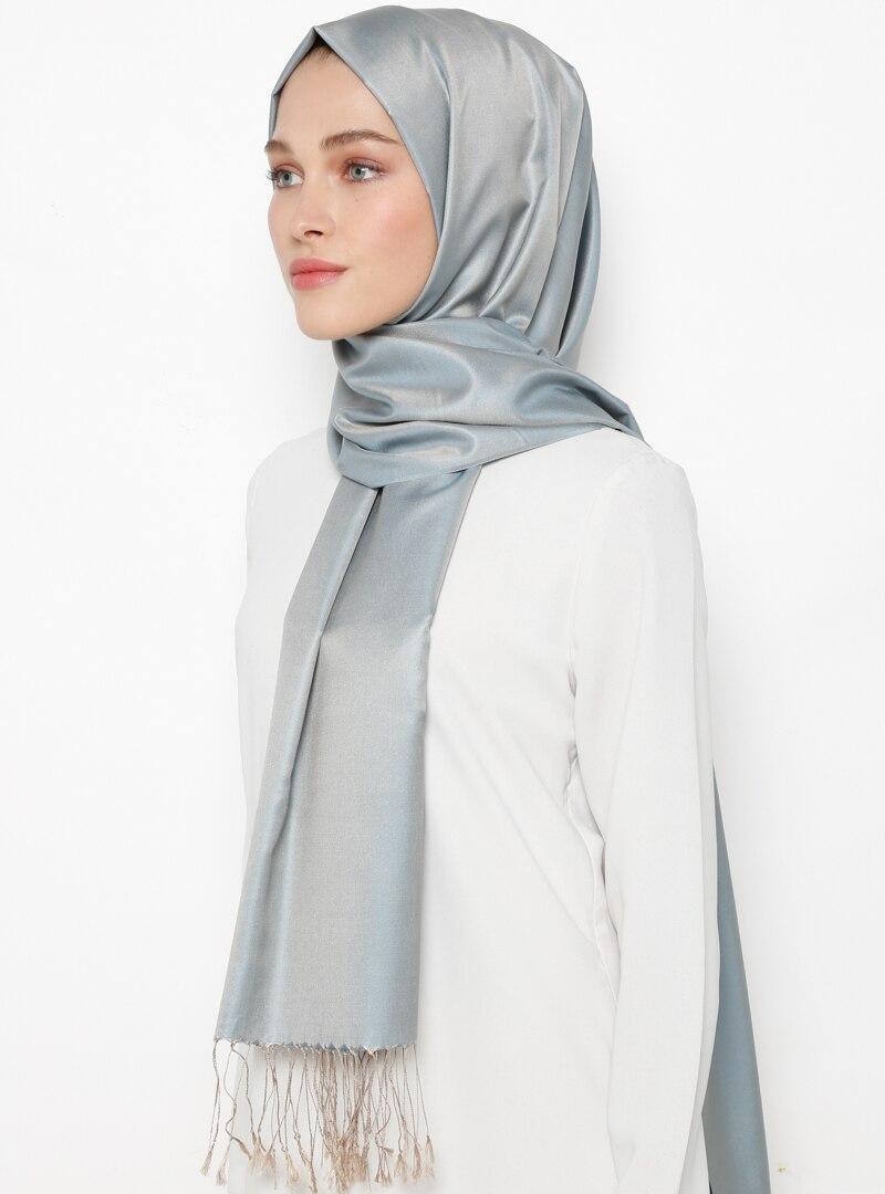 Tesettür %100 İpek Şal Silk Home Mavi Vizon Kadın Standart