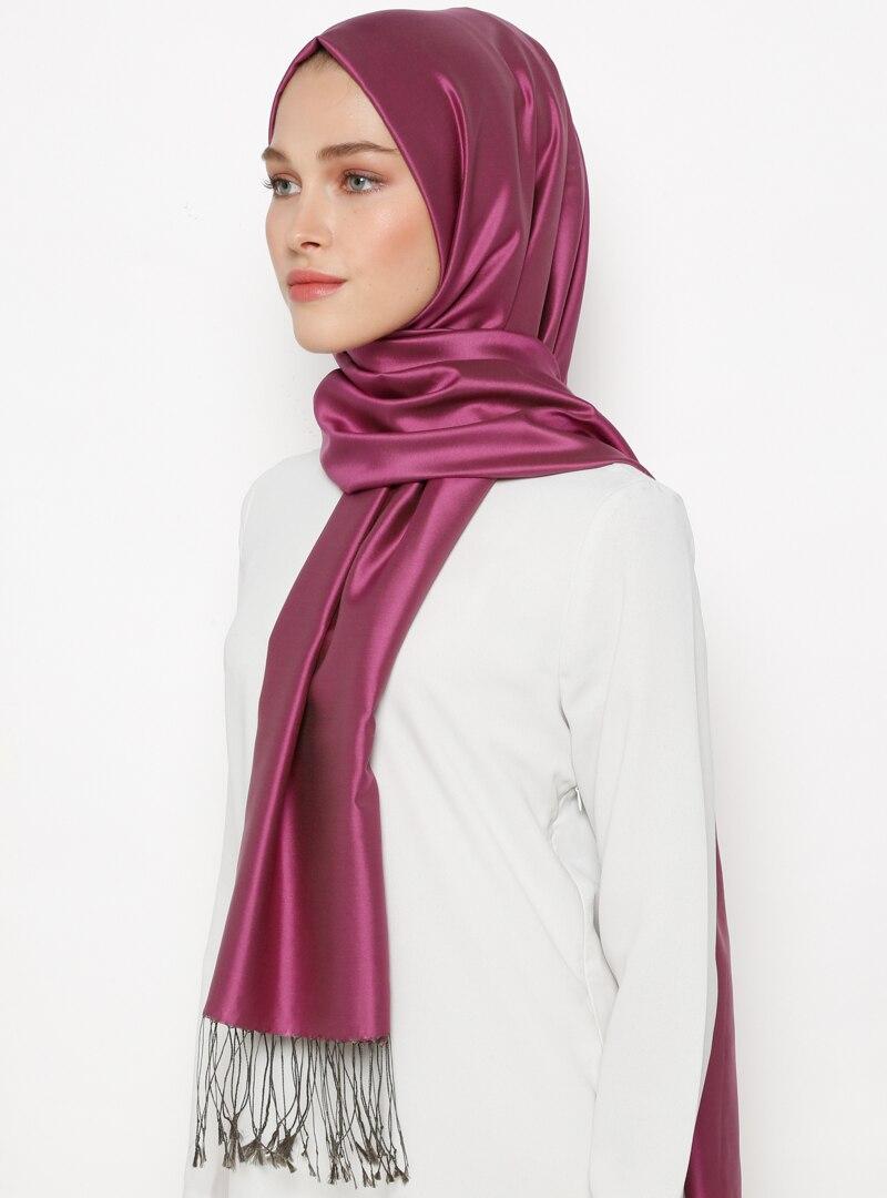 Tesettür %100 İpek Şal Silk Home Vizon Mürdüm Kadın Standart