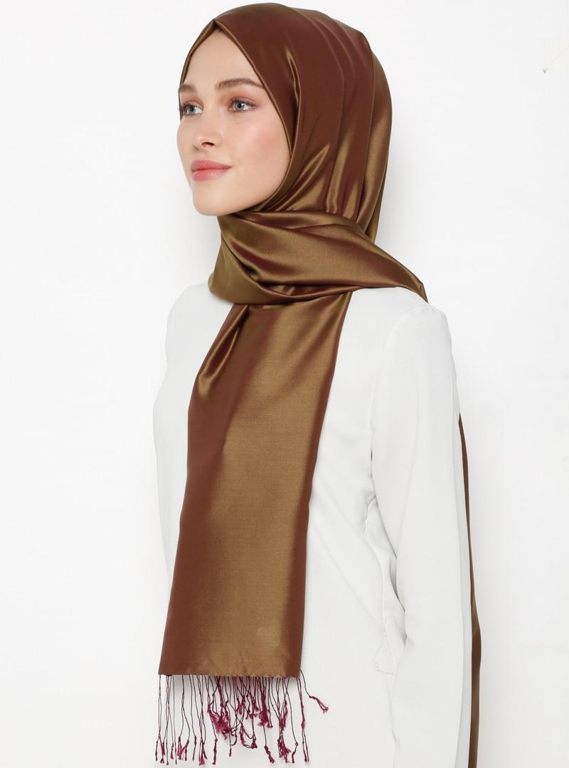 Tesettür %100 İpek Şal Silk Home Yeşil Mürdüm Kadın Standart