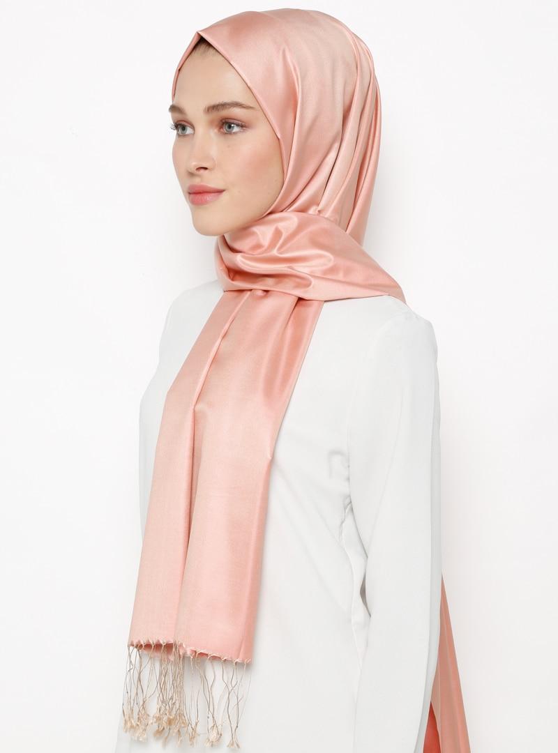 Tesettür %100 İpek Şal Silk Home Vizon Pudra Kadın Standart