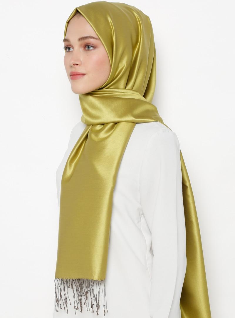 Tesettür %100 İpek Şal Silk Home Yeşil Vizon Kadın Standart