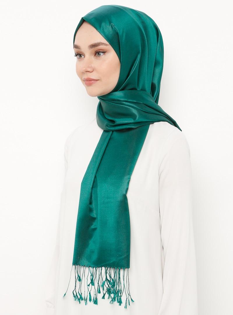 Tesettür %100 İpek Şal Silk Home Zümrüt Yeşili Kadın Standart