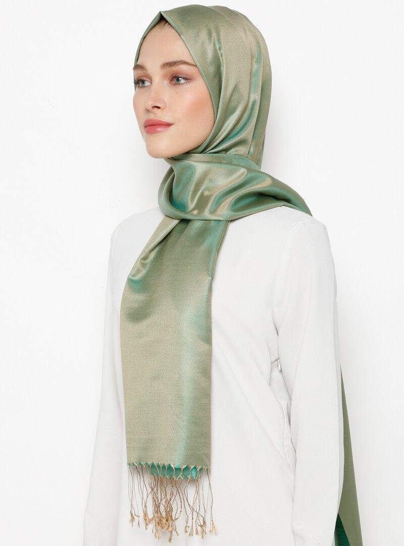 Tesettür %100 İpek Şal Silk Home Yeşil Dore Kadın Standart