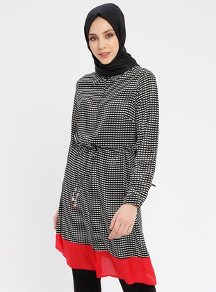 Red - Multi - Point Collar - Cotton - Tunic