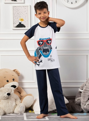 White - Navy Blue - Multi - Boys` Pyjamas