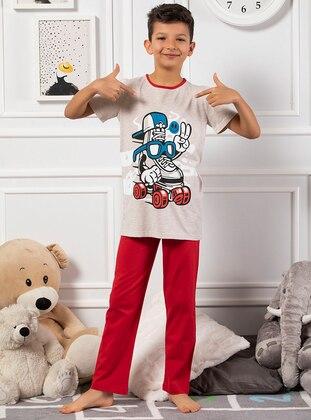 Red - Beige - Multi - Boys` Pyjamas