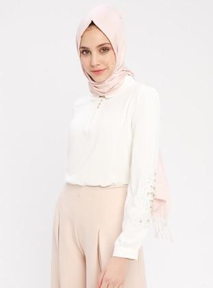 Ecru - Round Collar - Cotton - Blouses - Mia Line