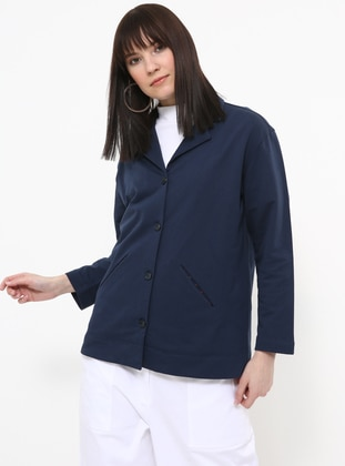 Blue - Unlined - Shawl Collar - Cotton - Jacket