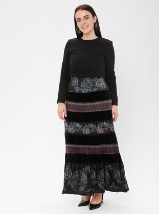 Black - Powder - Floral - Unlined - Skirt