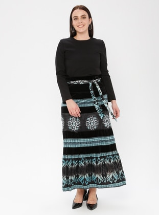 Black - Ethnic - Fully Lined - Skirt