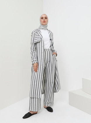 Navy Blue - Stripe - Cotton - Pants