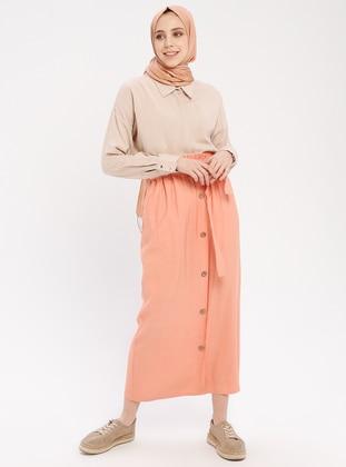 Salmon - Unlined - Cotton - Skirt