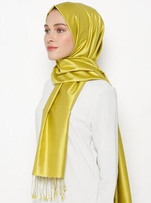 Green - Plain - Fringe - %100 Silk - Shawl - Silk Home