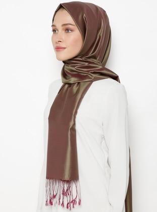 Khaki - Plum - Plain - Fringe - %100 Silk - Shawl