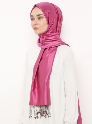 Brown - Fuchsia - Plain - Fringe - %100 Silk - Shawl - Silk Home