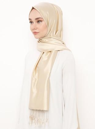 Cream - Plain - Fringe - %100 Silk - Shawl
