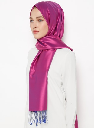 Navy Blue - Purple - Plain - Fringe - %100 Silk - Shawl