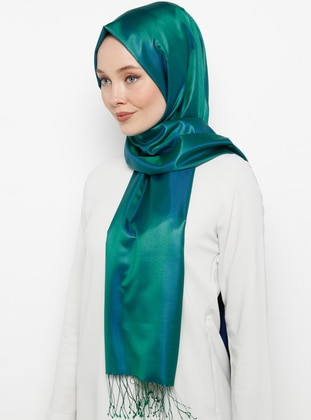 Green - Saxe - Plain - Fringe - %100 Silk - Shawl