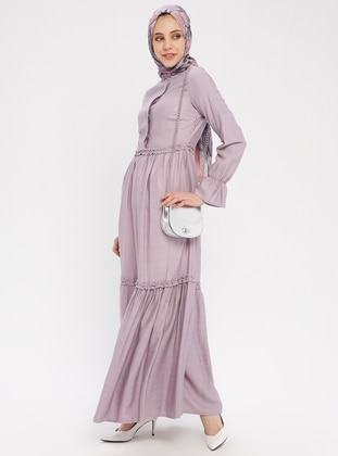 Lilac - Button Collar - Unlined - Cotton - Dress