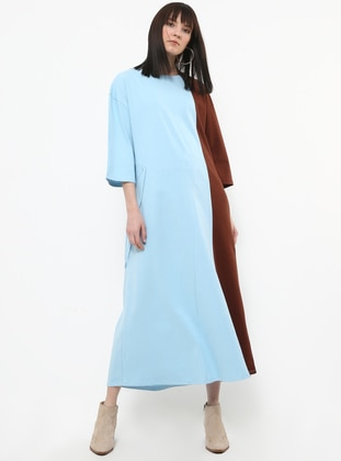 Blue - Brown - Crew neck - Unlined - Cotton - Dress