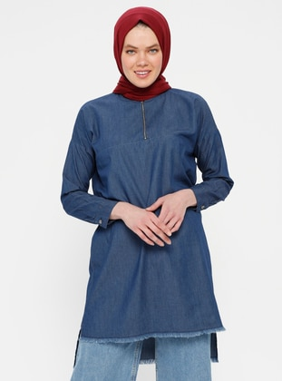 Blue - Polo neck - Denim - Tunic