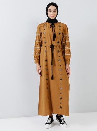 Tan - Camel - Crew neck - Unlined - Cotton - Dress