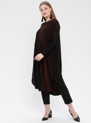 Black - Maroon - Crew neck - Plus Size Tunic