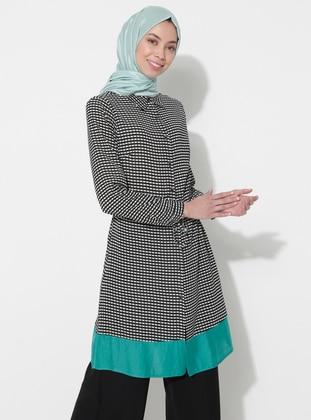 Green - Multi - Point Collar - Cotton - Tunic
