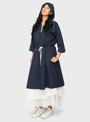 Blue - Unlined - Cotton - Dress
