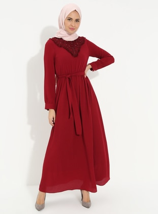 Maroon - Crew neck - Fully Lined - Cotton - Dress