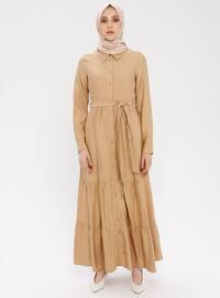 Beige - Point Collar - Unlined - Dress