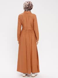 Tan - Point Collar - Unlined - Dress