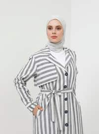 Navy Blue - Stripe - Unlined - Shawl Collar - Cotton - Topcoat