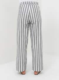 Navy Blue - Stripe - Cotton - Pants