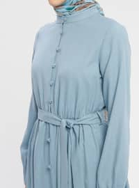 Blue - Baby Blue - Button Collar - Unlined - Cotton - Dress