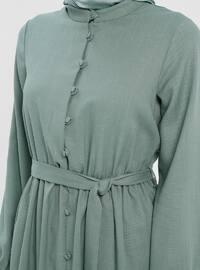 Green Almond - Button Collar - Unlined - Cotton - Dress