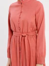 Salmon - Button Collar - Unlined - Cotton - Dress