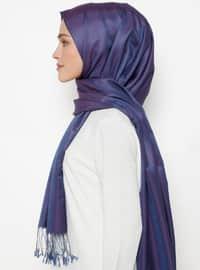 Blue - Plain - Fringe - %100 Silk - Shawl