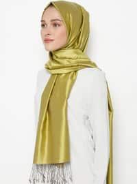 Green - Minc - Plain - Fringe - %100 Silk - Shawl