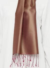 Brown - Plum - Plain - Fringe - %100 Silk - Shawl
