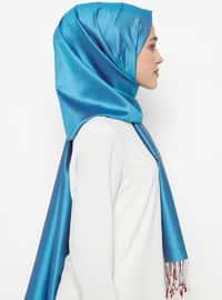 Blue - Maroon - Plain - Fringe - %100 Silk - Shawl
