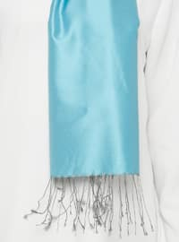 Blue - Gray - Plain - Fringe - %100 Silk - Shawl