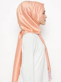 Pink - Plain - Fringe - %100 Silk - Shawl