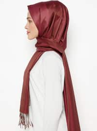 Brown - Cherry - Plain - Fringe - %100 Silk - Shawl