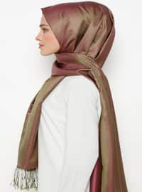 Green - Brown - Plain - Fringe - %100 Silk - Shawl