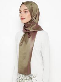 Green - Purple - Plain - Fringe - %100 Silk - Shawl