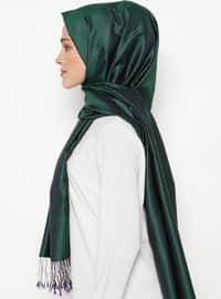 Purple - Emerald - Plain - Fringe - %100 Silk - Shawl